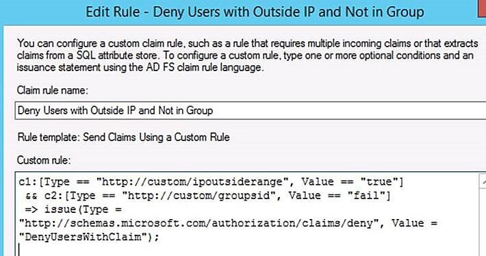 Customizing ADFS Claims Rules for Office 365